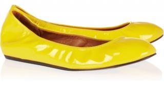 Lanvin yellow patent leather flats