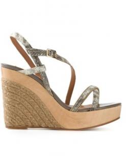 Lanvin strappy gold wedges