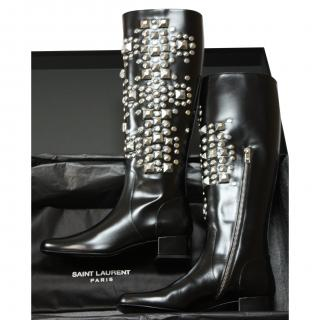 Saint Laurent Boots Studded Boots sold out rrp gbp 1,600