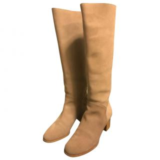 Chanel Beige Suede Boots