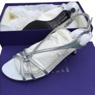 Stuart Weitzaman Silver Mini Glitter Sandal