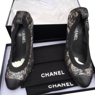 Chanel cap toe elastic ballet heel