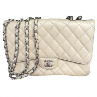 Chanel cream caviar classic single flap bag, jumbo