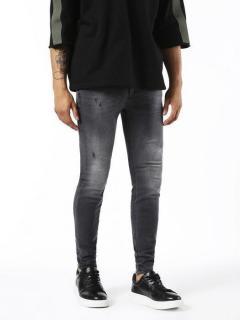Diesel Stickker Super Skinny Jeans 0677I Distressed Washed Black Jeans