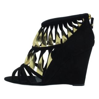 Chanel Black Gold Sandals Bootie Wedges