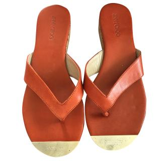 Jimmy choo orange leather and cork flip flop