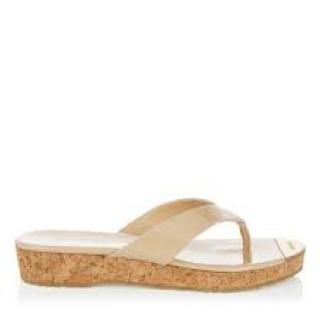 Jimmy Choo patent beige leather and cork flip flop