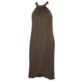 ANNE KLEIN brown silk jersey dress, size S