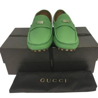 Gucci green driver shoes