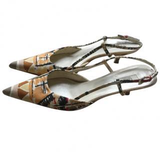 Prada kitten heeled sling back sandals