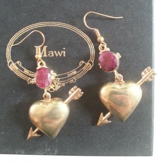 Mawi Puff Heart 18ct Plated Earrings