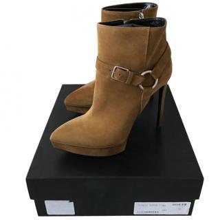 Saint Laurent tan buckle boots