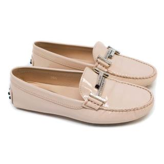 Tod's Nude Patent Leather Driving Shoes