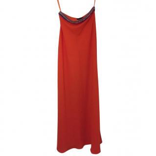 Saloni embellished satin-crepe maxi skirt