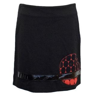 Maggio 22 Black Straight Skirt With Print