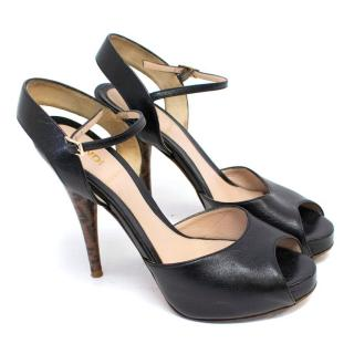 Fendi Black Leather Sandals with Wooden Embossed Heel