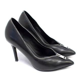 Diesel Black Leather Courts with Zips