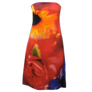 Celine Silk Strapless Abstract Floral Dress