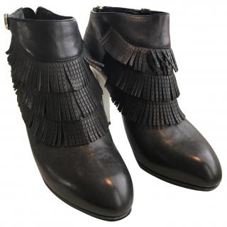 Sergio Rossi Ankle Boots with Fringe