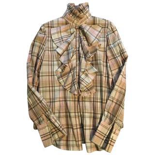 Ralph Lauren Ruffle Collar Checked Shirt