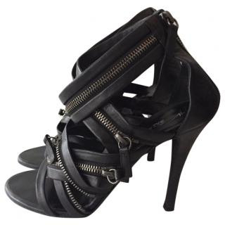 Giuseppe Zanotti For Balmain Black Leather Sandals