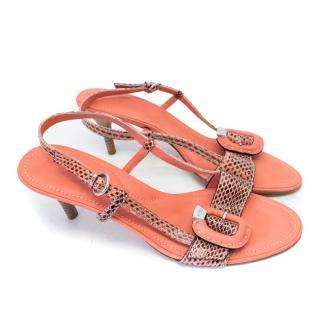 Tod's Orange Kitten Heel Sandals