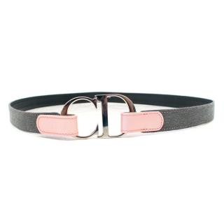 Christian Dior Denim and Leather Belt with CD Buckle