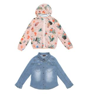 Scotch R'Belle Girls Pink Pattern Jacket And Catimini Denim Shirt