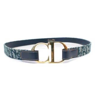 Christian Dior Patterned Belt with Gold Toned Buckle