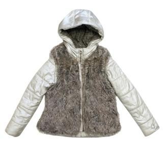 Catimini Girls Hooded Coat And Faux Fur Vest
