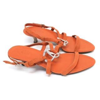 Tod's Bright Orange Kitten Heel Sandals