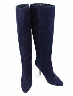 Jimmy Choo Navy Suede High Boots, UK size 3.5