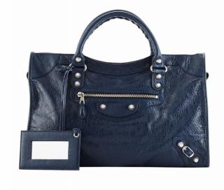 BALENCIAGA Classic Giant Silver City leather Handbag, Navy