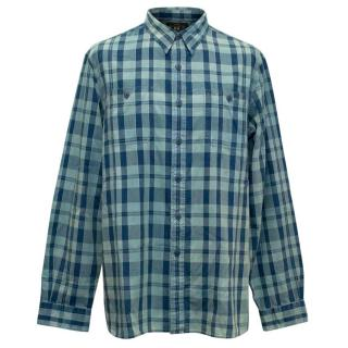 RRL Ralph Lauren Men Blue Checkered Shirt