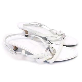 Tod's White Leather Kitten Heeled Sandals
