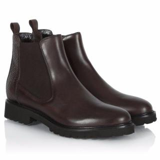 E'Clat Fiora Brown Leather Chunky Sole Chelsea Boots