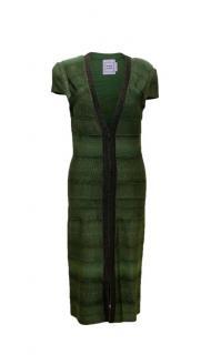 Herve Leger Green Cap Sleeve Bodycon Dress With Embellishments