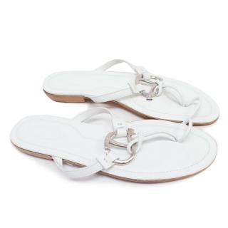 Tod's White Leather Thong Sandals