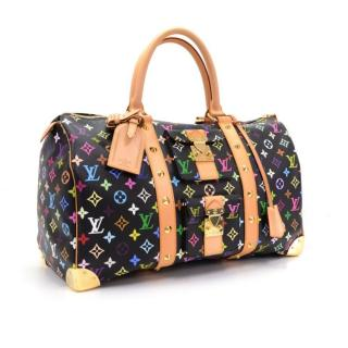 Louis Vuitton Keepall 45 Black Multicolor Monogram Canvas Duffle