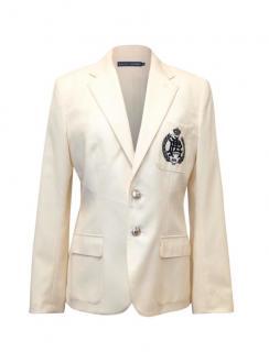 Ralph Lauren Cream Wool Blazer With Crest