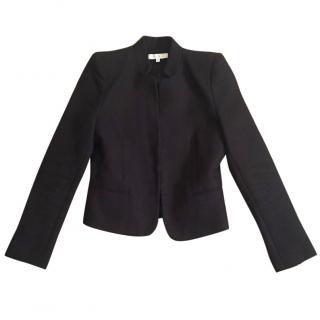 Sandro black wool blend jacket with Mandarin collar