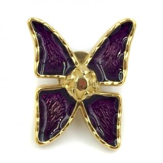 YSL Yves Saint Laurent Butterfly Brooch Pin Gold Costume Jewellery