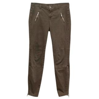 J Brand Brown Agnes Khaki Jeans with Zippers