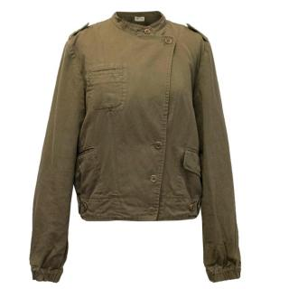 Athe Vanessa Bruno Green Khaki Jacket with Banded Collar
