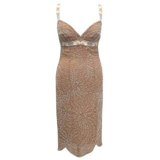 Amanda Wakeley Beige Beaded Mid-length Dress