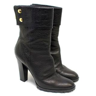 Casadei Black Leather Heeled Ankle Boots with Gold Details