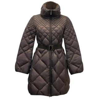 Moncler Quilted Brown Coat with Belt
