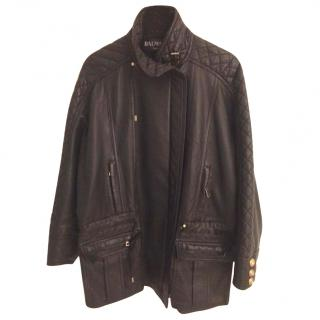 Balmain Ladies Quilted Nappa Leather Jacket