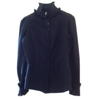 Alexander McQueen Black Ruffle Collar Shirt