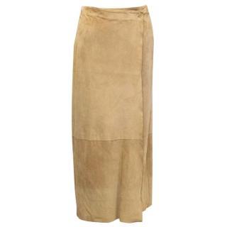 Nicole Farhi Beige Suede Wrap Skirt with Slit